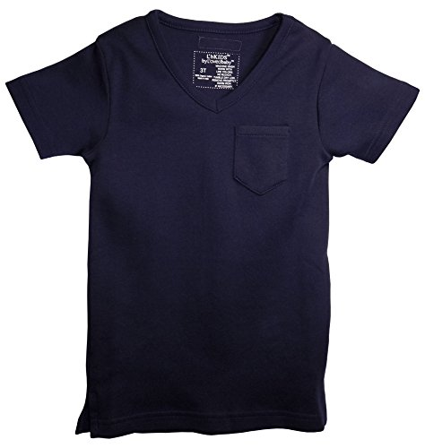 L'ovedbaby (L'bKIDS) Organic Cotton V-Neck Short-Sleeve Toddler T-Shirt (3T, Navy)