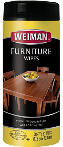 Weiman Wood Cleaner and Polishing Wipes - For Furniture To Beautify & Protect, No Build-Up, Contains UVX-15, Pleasant Scent, Surface Safe - 30 - Furniture Cloth Polish