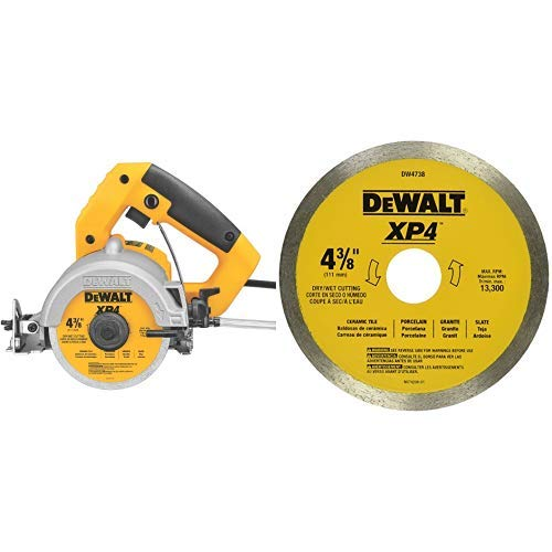 Fantastic Deal! DEWALT DWC860W 4-3/8-Inch Wet/Dry Masonry Saw with DEWALT DW4738 4 3/8-Inch by .060-Inch Wet/Dry XP4 Porclean and Tile Blade