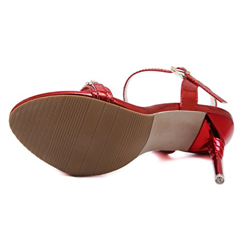 JIEEME Sexy Ladies Heels Sandals Women Buckle Women Red Shoes Party Stiletto Silver Strap High Red rqrxwRA