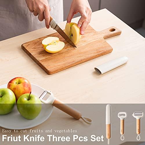 Sazfli Fruit Knife 3 Pcs Set, Professional Knife with Paring Knife and Bottle Opener, Super Sharp Rust Proof Stain Resistant, Gray