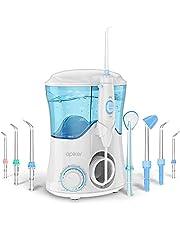 Apiker Elektrische monddouche Oral Irrigator met 10 drukinstellingen, 600 ml waterreservoir, 8 verschillende functionele sproeiers, ideale effectieve reiniging van de interdentale ruimtes voor het hele gezin en op reis