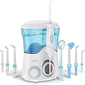Idropulsore Dentale con 8 Beccucci Multifunzione, Apiker Irrigatore Orale da Capacità 600ml con 10 Impostazioni per la…