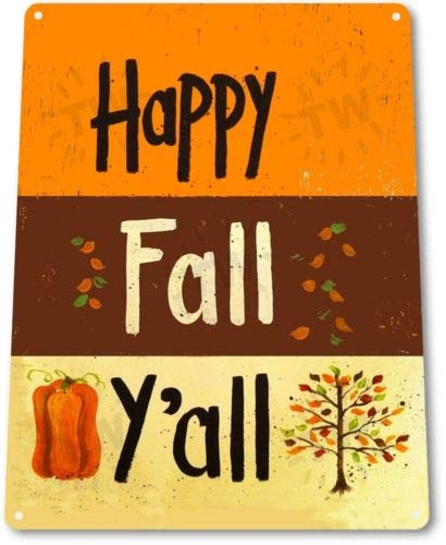 TIN Sign Happy Fall Tin Metal Sign Thanksgiving Holiday Halloween Decor -