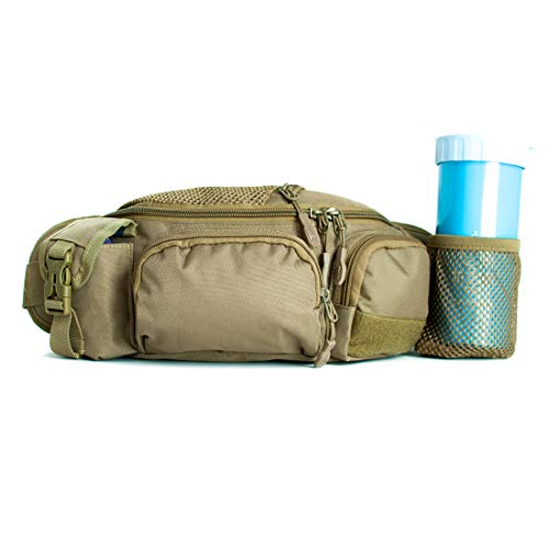 Tircuger Fanny Pack with Water Bottle Holder for Women Men Tactical Packs Army Waist Bag Military Waist Pack for Travel Daily Life Cycling Camping Hiking Hunting Fishing Shopping (Khaki)