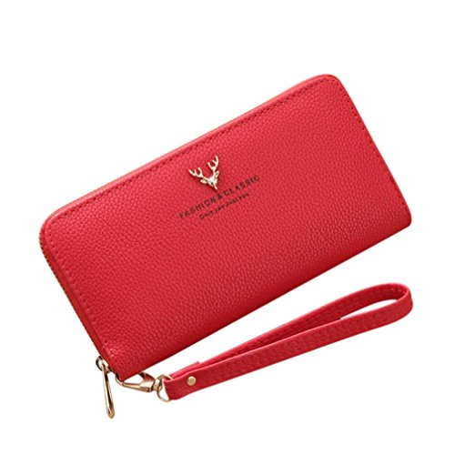 Outsta Women Fashion Deer Head Lichee Pattern Solid Single Pull Wallet Chain Purse Handbag (Red)
