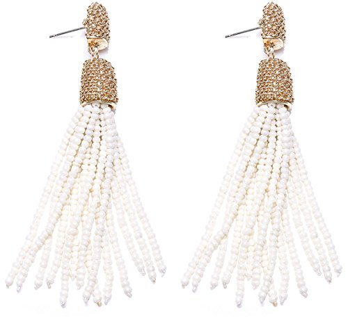 VK Accessories Bead Fringe Dangle Earrings Soriee Drop Earrings Beaded Tassel Ear Drop Pearl White 3