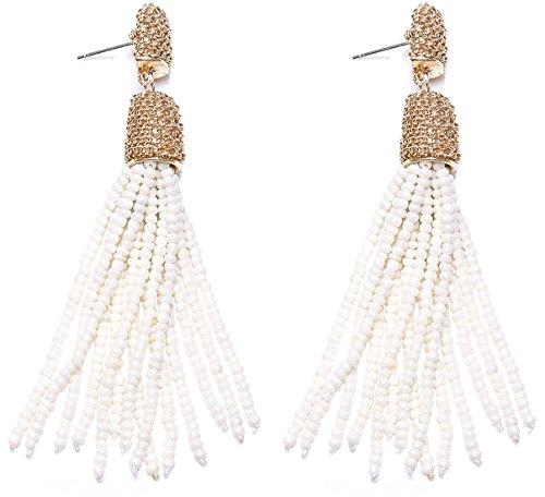 White Bead Earrings - VK Accessories Bead Fringe Dangle Earrings Soriee Drop Earrings Beaded Tassel Ear Drop Pearl White 3