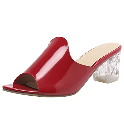 YE Women's Peep Toe Mid Heel Slip On Open Back Mules Block Heel Trendy Confortable Sandals Slide Red MBf6pSU