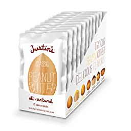 Justin\'s Natural Classic Peanut Butter Squeeze Packs 1.15 oz., 10 Count Box (Pack of 2)