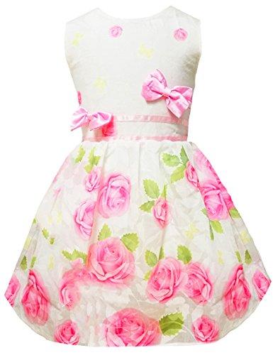 Little Girls Spring Flower Dress Rose Print Bowknot Sundress Party Dresses