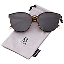 SOJOS Fashion Round Sunglasses for Women Oversized Vintage Shades Flat Lenses SJ2057
