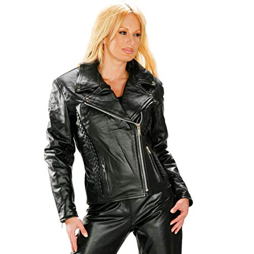 Xelement B8000 LA 'Classic' Women's Black Leather Braided Jacket - X-Large