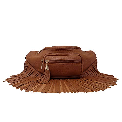 (Womens Fringe Tassel Fanny Pack With Faux Leather Coachella Festival Multi Zipper Bag ...(Tan))