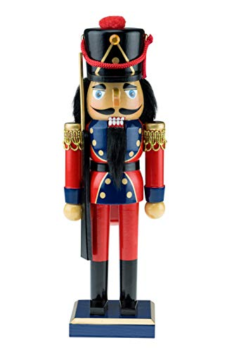 (Clever Creations Traditional Wooden Soldier with Rifle Nutcracker | Red, Blue, and Gold Coat Outfit with Rifle | Festive Christmas Decor | 10.25