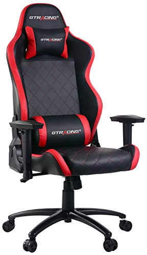 - GTRACING Gaming Chair Heavy Duty Ergonomic Chair Racing Video Game Chair with Headrest and Lumbar Recliner Swivel Rocker E-Sports Chair (902-Red)