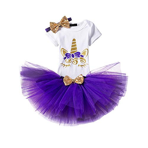 Unicorn Baby Girl Outfit Princess Costume Fancy Dress up Party Onesie Tutu Skirt Sequin Headband 3PCS Casual Playwear ()