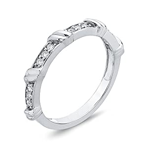 Diamond Fashion Ring in 10K White Gold (1/6 cttw, Colour GH, Clarity I2-I3) (Size-3.5)