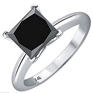 1 Carat 14K White Gold Princess Black Diamond Solitaire Ring (AAA Quality)