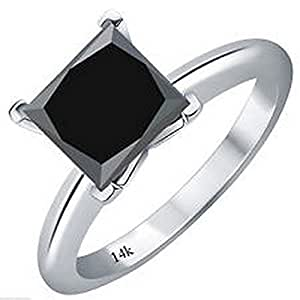 1/2 0.5 Carat 14K White Gold Princess Black Diamond Solitaire Ring (AAA Quality)