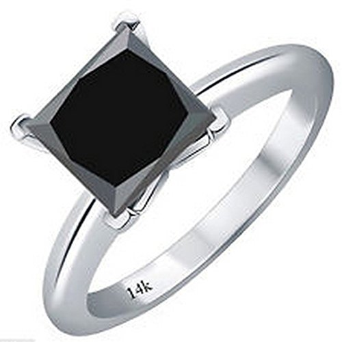 1/2 - 5 Carat Total Weight Princess Platinum Black Diamond Ring (AAA Quality)
