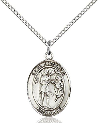 Medal Sebastian Pendant Saint (Sterling Silver Saint Sebastian Medal Pendant, 3/4 Inch)