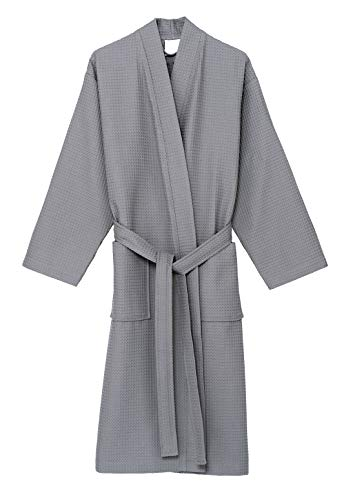 TowelSelections Turkish Bathrobe Waffle Kimono Robe for Women and Men Medium/Large Frost Gray