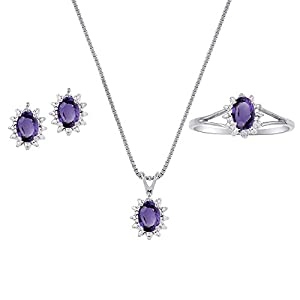 February Birthstone Set - Ring, Earrings & Necklace Amethyst 14K Yellow Gold or 14K White Gold