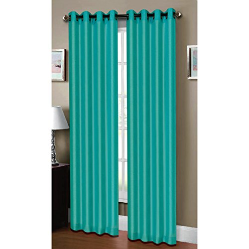 Elegant Raphael Heathered Faux Linen Extra Wide 54 X 84 In. Grommet Curtain Panel, Dark  Turquoise