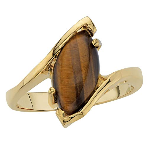 14K Yellow Gold-Plated Marquise Shaped Genuine Brown Tiger's Eye Ring Size 6