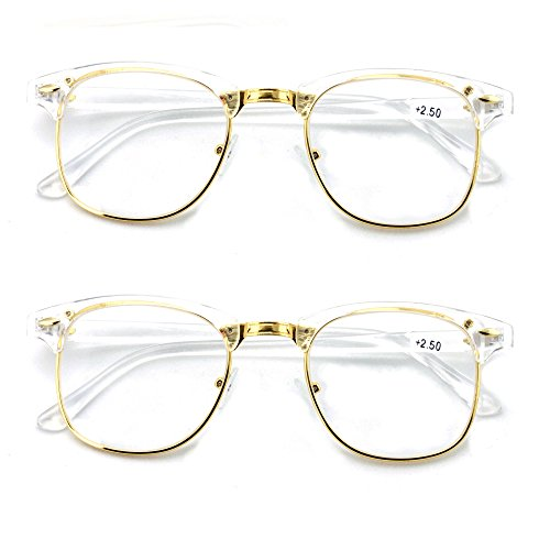 V.W.E. 2 Pairs Men's Round Vintage Readers Quality Reading Glasses (2 clear, - Vintage Readers