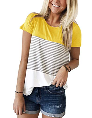 LYXIOF Women's Tops Short Sleeve Round Neck Triple Color Block Stripe T-Shirt Casual Blouse B-Yellow L ()