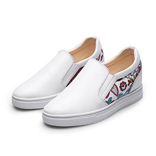 0611d4990038 ... Idées Cadres Femmes Mocassins En Cuir De Mode Chaussures Compensées  Blanc ...