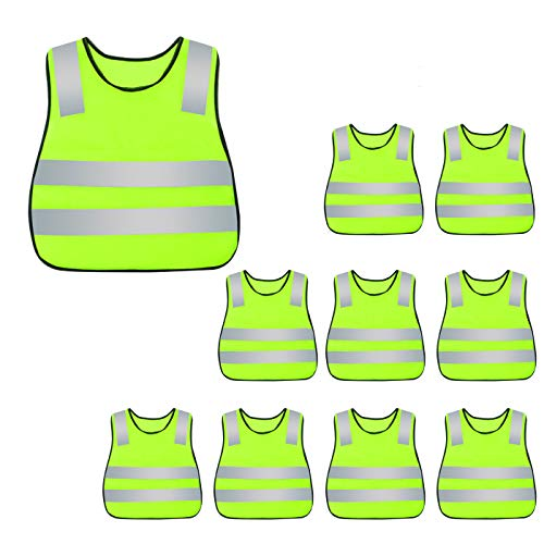 - Kids Safety Vest Reflective High Visibility Vest Breathable Traffic Vest Costume Construction Vest Elastic Strap Safety Vest Neon Yellow Purpose for Running Cycling Jogging 10PCS
