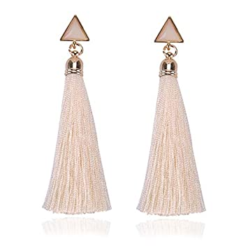 camillia-de Bohemian Earrings Geometric Triangle Long Hanging Tassels Earrings Women Ladies Ethnic Hanging Rope Jewelry for Party Beach
