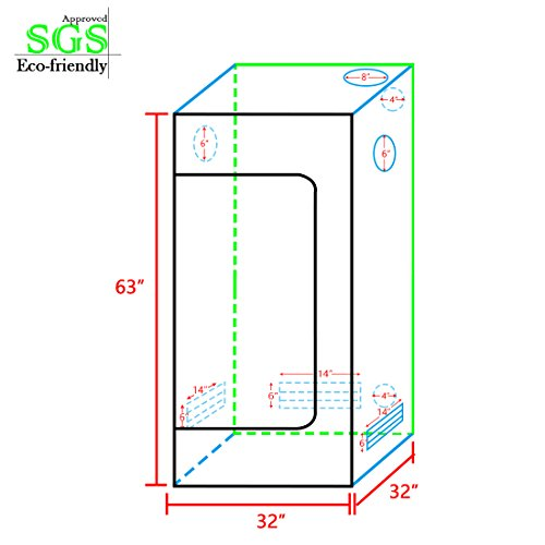 """41xGX8qwuRL - Quictent SGS Approved Eco-friendly 32""""x32""""x63"""" Reflective Mylar Hydroponic Grow Tent with Heavy Duty Anti-burst Zipper and waterproof Floor Tray for Indoor Plant Growing"""