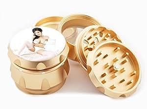 "Asian Girl Design Premium Grade Aluminum Tobacco,Herb Grinder -4Pcs Large (2.5"" Gold) # GLD-G121114-0009"