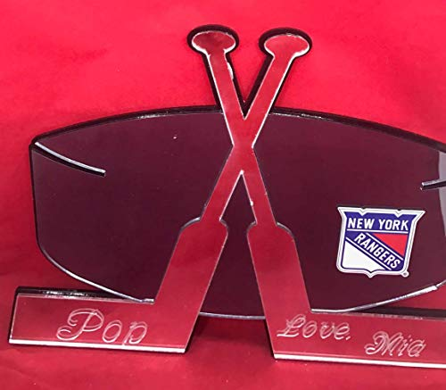 (New York Hockey Sticks Wall Design NY Rangers Wall Decor Wall Art Hanging Personalized Free Engraved Mirror Rangers Ice Hockey Sticks with Puck Wall Decoration for Your Room - with Your Name On It!)