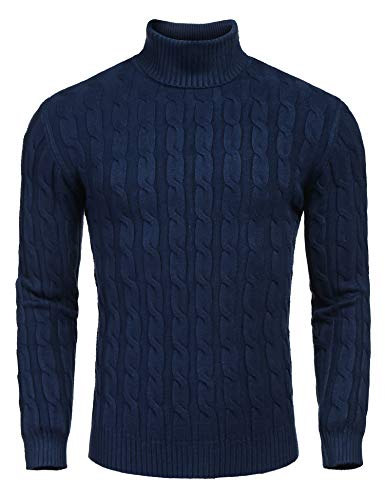COOFANDY Men's Slim Fit Turtleneck Sweater Casual Twisted Knitted Pullover Sweaters Navy Blue