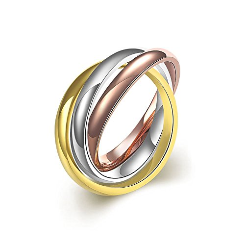 PMTIER Women's 316l Stainless Steel Gold Silver Rose Triple Band Interlocked Rolling Ring Size ()