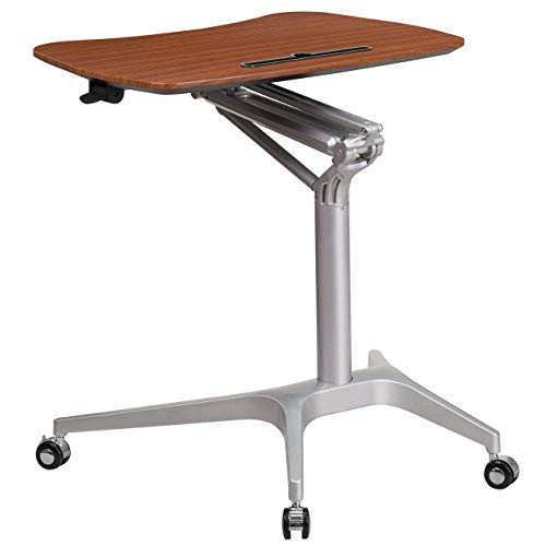 Flash Furniture Mobile Sit-Down, Stand-Up Mahogany Computer Ergonomic Desk with 28.25''W Top (Adjustable Range 29'' - 41'')