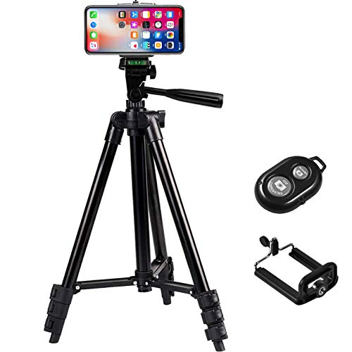 Phone Tripod,Universal Aluminum Lightweight Tripod with Bluetooth Remote for iPhone/Samsung/Huawei Cellphone Camera & Gopro Extendable Travel Video Tripod Stand, Support iOS/Android (Black)