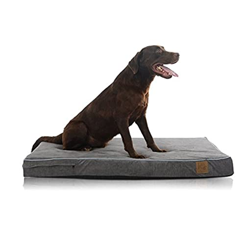 Beau Laifug Orthopedic Memory Foam Pet/Dog Bed With Durable Water Proof Liner  And Removable Designer Washable Cover, 46u0027u0027 L X 28u0027u0027 W X 4u0027u0027 H, Slate Grey