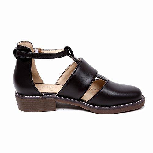 Carolbar Womens Fibbia Moda Comfort T-strap Casual Scarpe Tacco Basso Nero