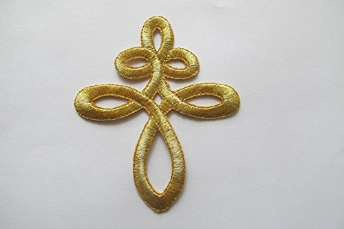 Celtic Trim Knot (Embroidered patch- Patches for Women Man- Gold Trim Fringe Celtic Knot)