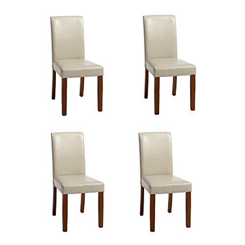 WV LeisureMaster Faux Leather Dining Chairs With Original Solid Wooden Legs and High back For Home&Commercial Restaurants,Set of 4(Cream) (Cream Faux Leather Dining Chairs)