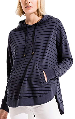 - Z Supply ZT183439 The Dakota Striped Pullover Hooded Sweat Shirt in Indigo Denim Black (Small)
