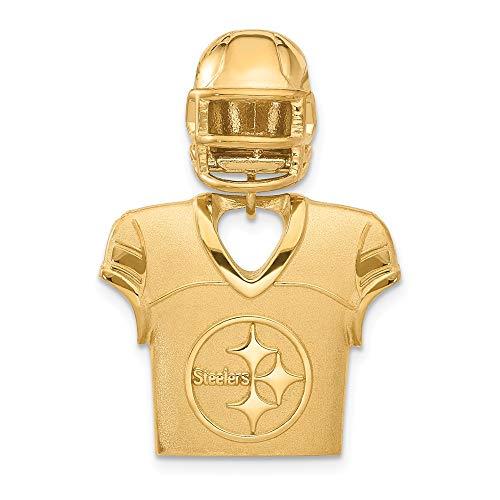 (NFL Sterling Silver GP Pittsburgh Steelers Jersey and Helmet Pendant)