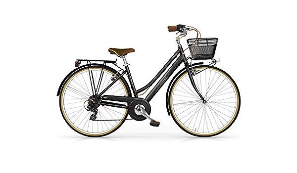 MBM Colors Frenos V-Brake Cuadro de Aluminio Talla 50 Horquilla Acero y Ruedas de 28 Bicicleta de Paseo para Mujer de 6 velocidades Color Blanco
