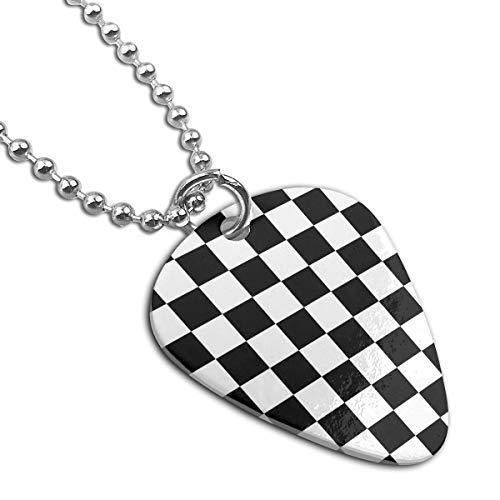 White Black Checkered Custom Guitar Pick Pendant Necklace Keychain